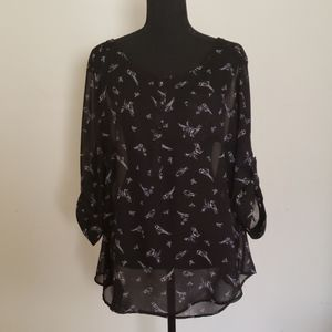 Torrid Black Bird Design Chiffon Top